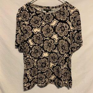 St. John Large tan black pattern short sleeve top